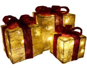 Decorativi Cofanetti regalo LED con nastro ROSSO - set di 3