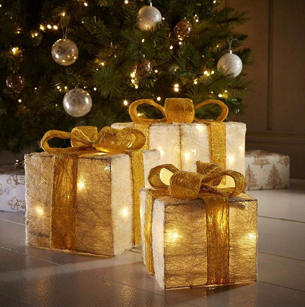 Decorativi LED Cofanetti regalo-regali di natale decorazioni natalizie-pre-lit 55 caldo bianco scatola regalo LED con nastro oro-set di 3, pre illuminati.