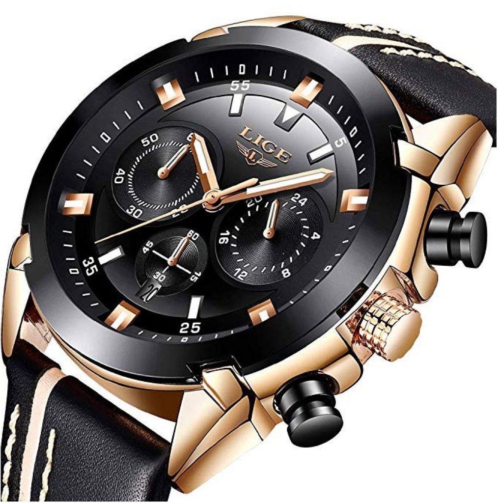 Orologi da uomo, LIGE Luxury Brand Cronografo multifunzione Sport Orologio al quarzo analogico Gents Acciaio impermeabile Data Business Orologio da polso casual Nero Quadrante in oro rosa
