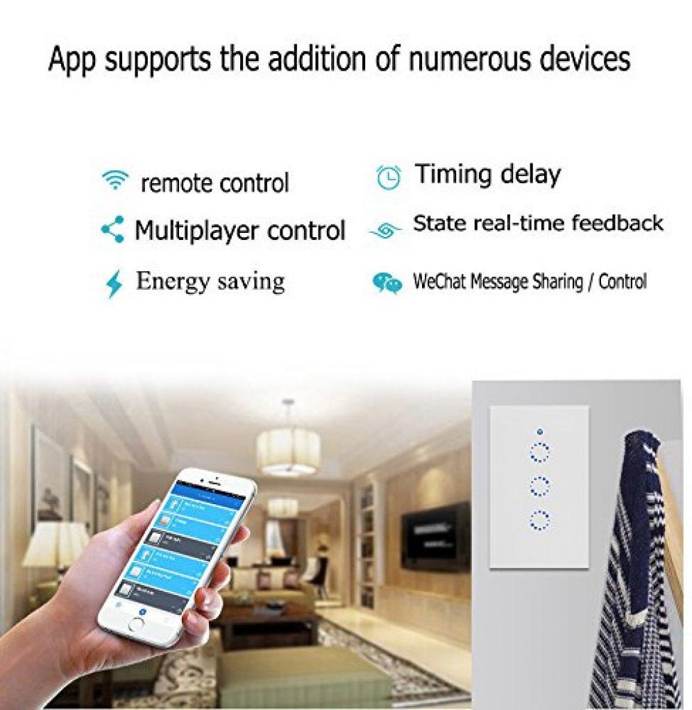 1PCS Smart wireless RF touch parete interruttore di controllo della luce US Plug 315 MHz ricevitore