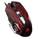 Mouse Gaming Silenzioso, Inphic 4800DPI Mouse da Gioco Ottico USB con Cavo, Regolazione 5 DPI, 6 Pulsanti Programmabili, 7 LED RGB