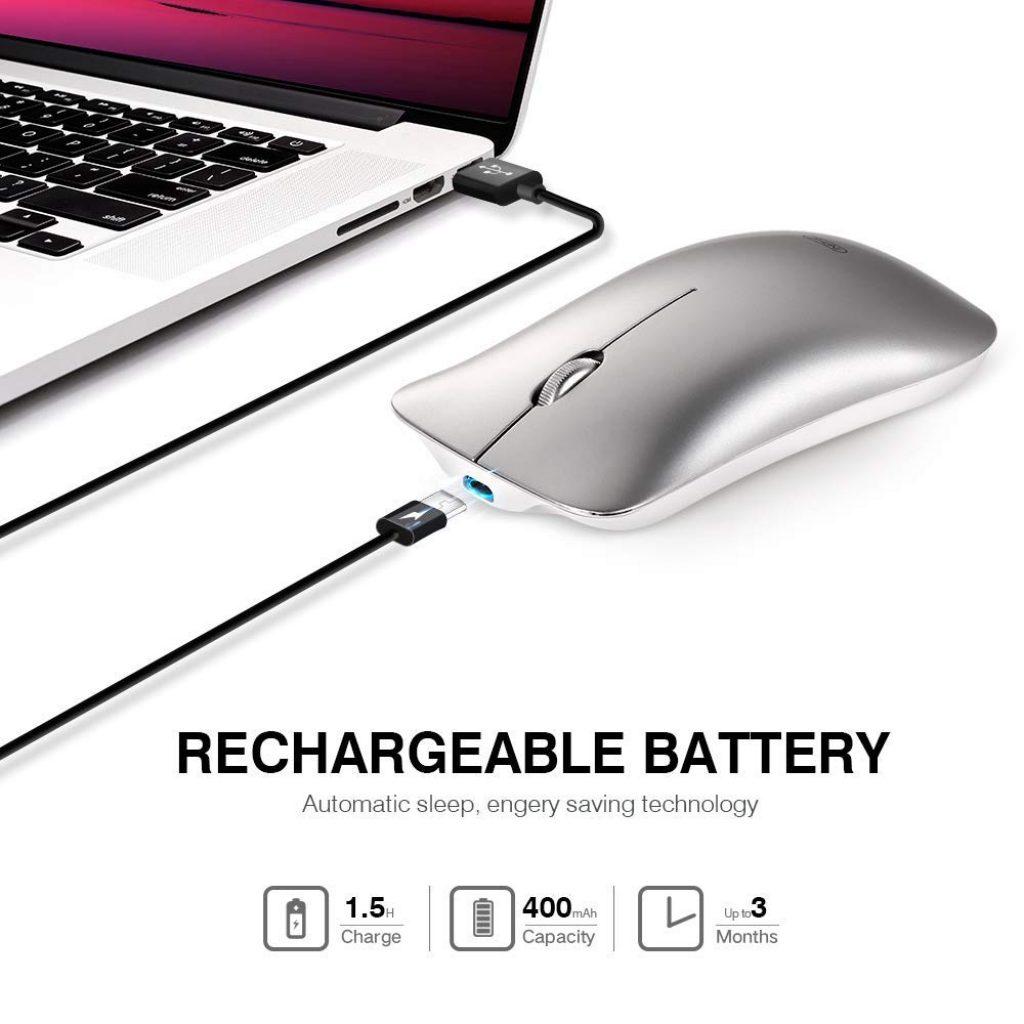 mouse wireless ricaricabile, silenzioso, click certificati, ambidestro, adatto a mancini, autonomia record