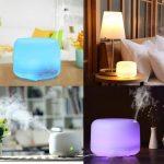 GEEKHOM Diffusore aromatico 500ml a Colori Colorate LED,diffusore Oli Essenziali e umidificatore d'Aria spegnimento Automatico