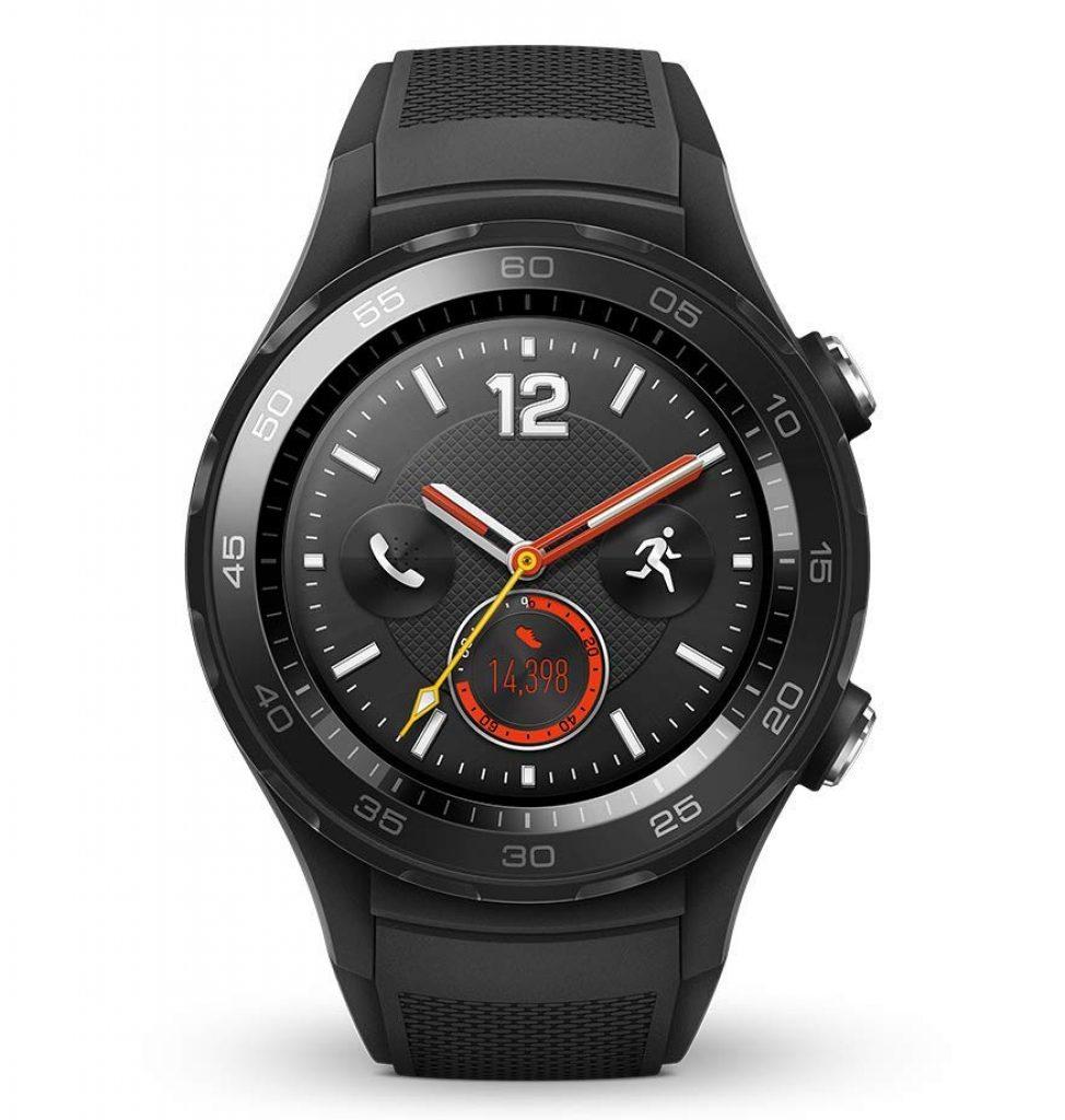 Huawei Watch 2 Smartwatch, 4G/LTE, 4 GB Rom, Android Wear, Bluetooth, WiFi, Monitoraggio della frequenza cardiaca, Nero (Carbon Black)