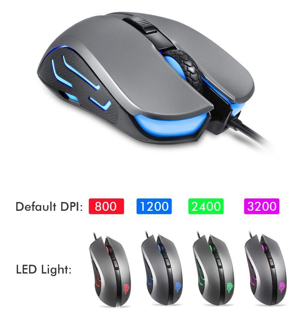 EasySMX Gaming Mouse,SI-9031 Mouse Ottico da Gioco Cablato, Commutazione DPI 3200 DPI al Volo, 4 Pulsanti Programmabili, Mouse da Gioco, Macro