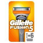 Gillette Fusion5 Lamette di Ricambio per Rasoio, Confezione da 6 Lamette e 1 Manico Gratis