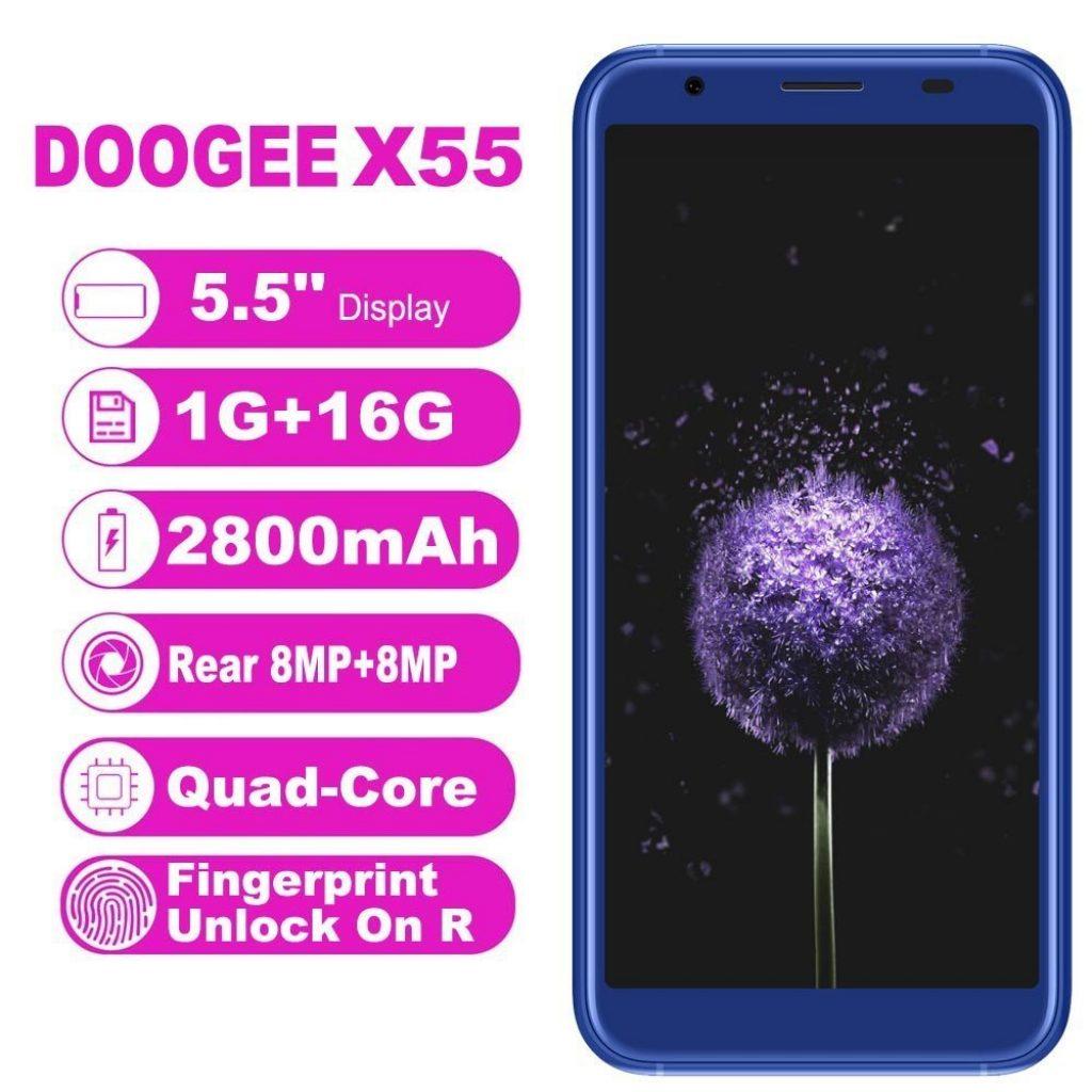 """Smartphone DOOGEE X55 Telefono Economico 3G, Dual SIM Free Schermo HD da 5.5"""" 18:9 Cellulari in Offerta Android 7.0 Telefonia Mobile con Doppia 8.0MP"""