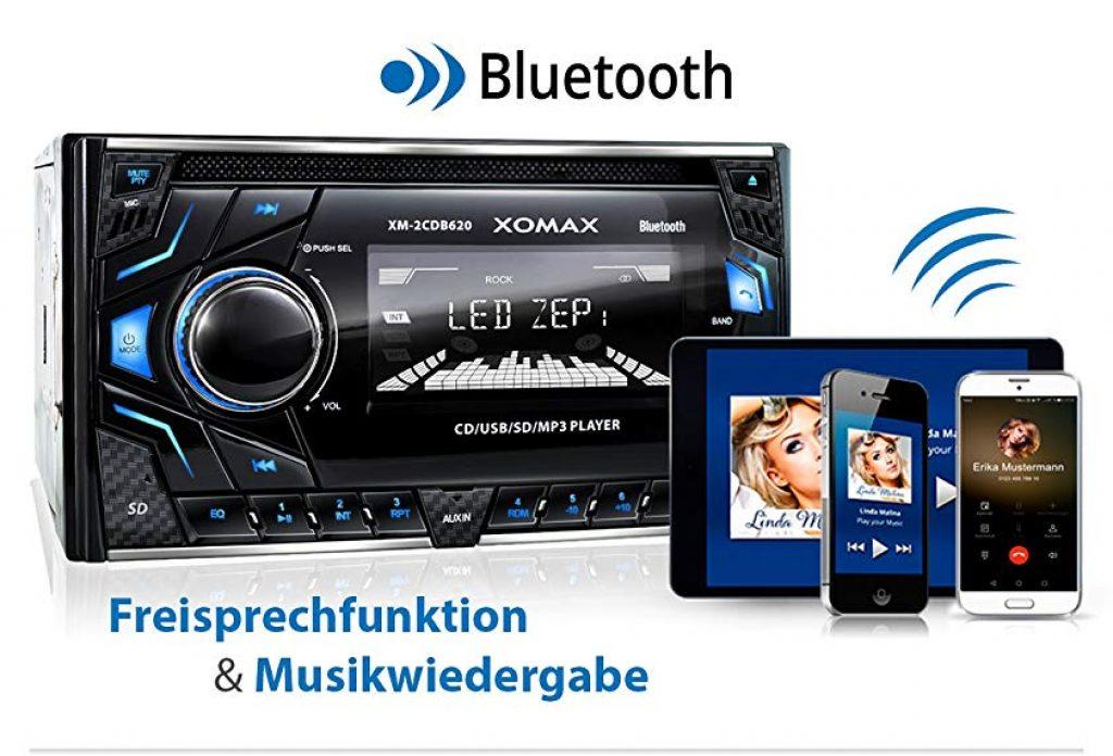 XOMAX XM-2CDB620 Autoradio con lettore CD I Vivavoce Bluetooth I RDS I 3 colori regolabili (rosso, blu, verde) I USB, Micro SD, AUX I 2x Collegamento per
