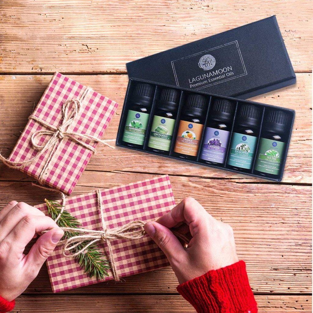 Lagunamoon Olio Essenziale, Top 6 Set di Olio Essenziale Aromaterapia di Lavanda, Eucalipto, Tea Tree, Menta, Citronella y Arancione, Olio Essenziale