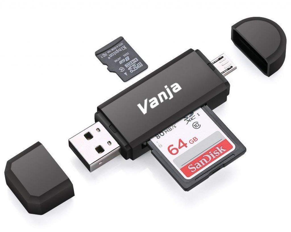 Vanja Lettore di Schede di Memoria SD/Micro SD, Adattatore Micro USB OTG e Lettore di Lchede USB 2.0 TF per con Computer/Android Smartphone/Tablet con OTG