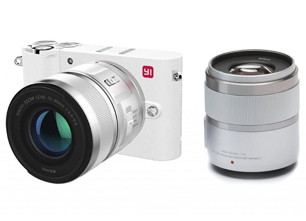 YI 4K Fotocamera Digitale Mirrorless Micro Quattro Terzi 4K Fotocamera MFT 20 Megapixel 2 Obiettivi Intercambiabili 12-40mm & 42.5 mm (Colore Bianco - Kit 2