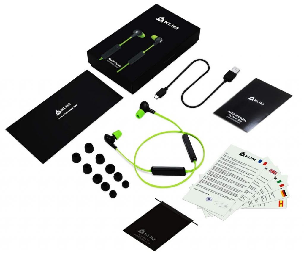 KLIM Pulse Auricolari Bluetooth 4.1 Cuffie Auricolari wireless - Riduzione Rumore - Perfette per Sport, Musica, Chiamate Telefoniche, Gaming, Magnetiche + Cuscinetti In Schiuma Memory Verde Nuova 2019