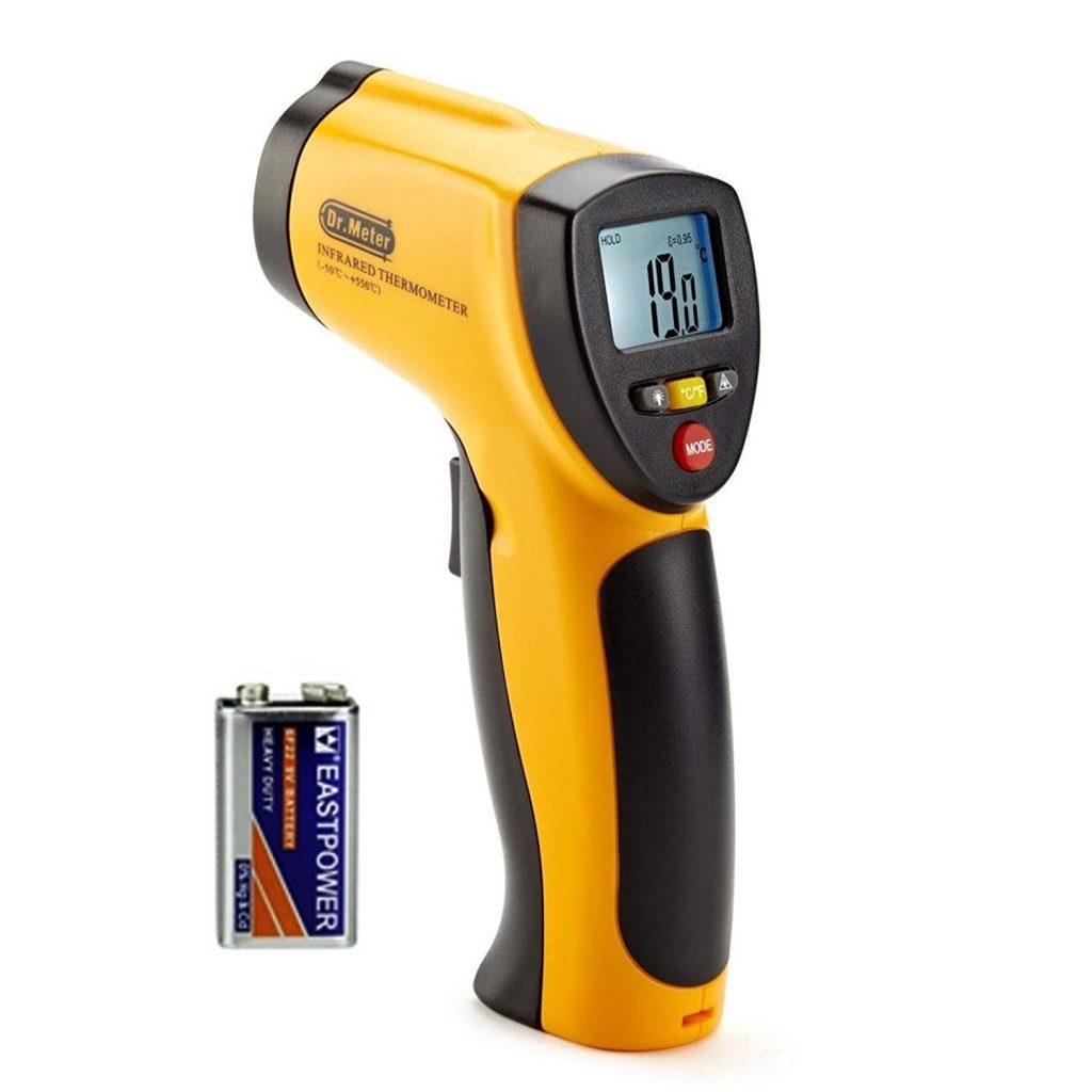 Dr.Meter IR-20 Termometro Pistola Digitale ad Infrarossi per Esterni/interni con Fondina, Range da -50 a 550°C; funzione trattenimento massimo/minimo, batteria inclusa
