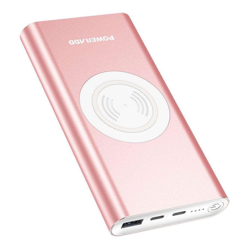 POWERADD Caricabatterie Portatile con Funzione Wireless 10000mAh Powerbank con Funzione di Ricarica Senza Fili Porta Type-C per iPhone, Samsung Galaxy e Tanti Altri - Rose Gold