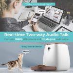 Dispenser Cibo Cani 3.3L, Houzetek Alimentatore Automatico per Pet Distributore Cibo Gatti e Cani con Timer Programmabile,Controllo App,Fotocamera Incorporata,Registrazione Vocale.