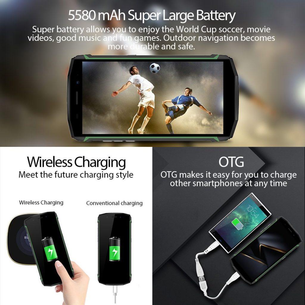 """【Ricarica Wireless】Blackview BV5800 Pro Outdoor Smartphone Dual Sim 4G da 16GB, 32GB Espandibili, Batteria 5580mAh, 5.5"""" HD IPS Doppia Fotocamera 13 e 8 MP, Android 8.1, GPS/NFC/Face ID-Verde [Classe di efficienza energetica A+++]"""