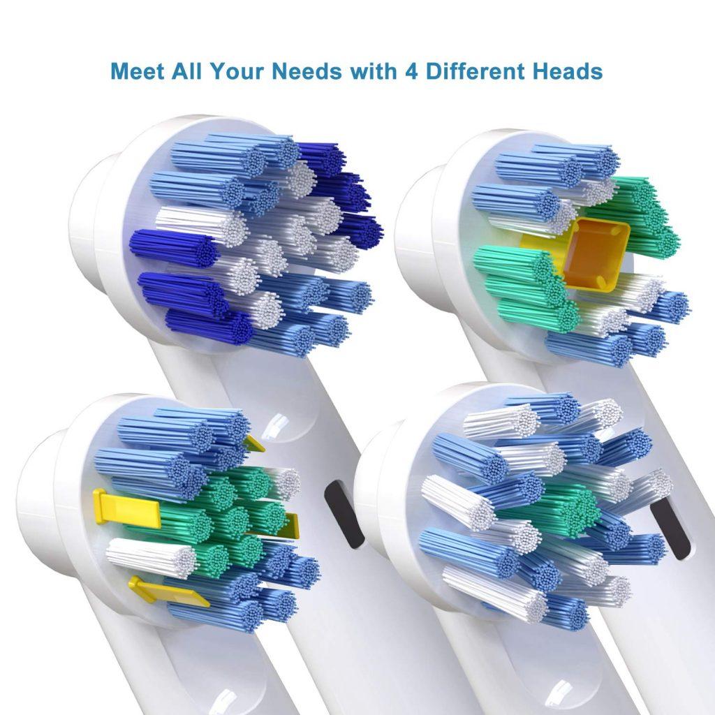 Pacco da 16 Testine per Oral B, Compatibili con Oral B Pro 5000 Pro 6500, Include 4 Testine per una Pulizia di Precisione, 4 con Azione da Filo Interdentale, 4 per Azione Trasversale E 4 Sbiancanti 3D
