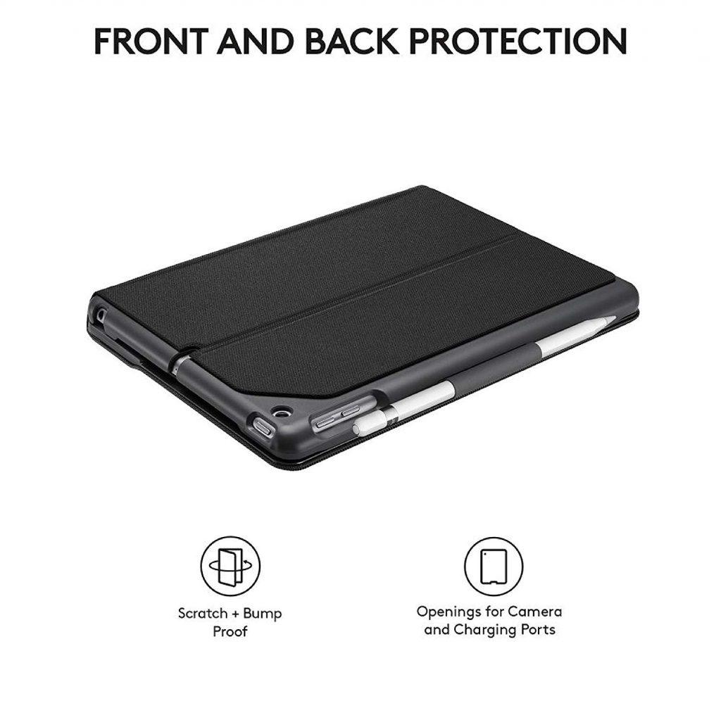 Logitech 920-009021 Slim Folio con Tastiera Bluetooth Integrata per iPad, Carbon Nero