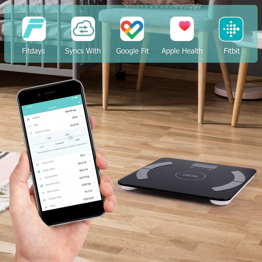 Deik Bilancia Pesa Persona Digitale, Bluetooth Bilancia Pesapersone con Display Retroilluminato, 6kg-180kg, per IOS&Android con Analisi Composizione Corporea Inclusi Grasso, Acqua, BMR, ecc