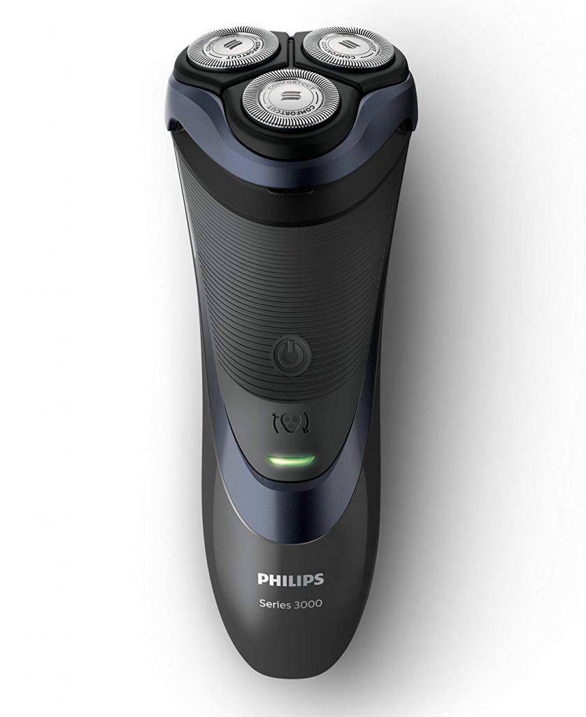 Philips S3530/06 Serie 3000 Rasoio Elettrico per Rasatura a Secco, batteria, nero/blu