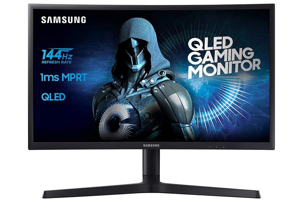 "Samsung C24FG73 Monitor Curvo VA da Gaming, 24"" Full HD, 1920 x 1080, 144 Hz, 1 ms, FreeSync, DP, HDMI, 16.7M di Colori, sRGB 125%, Game Mode, Quantum Dot, Base a Doppio Snodo Nero"
