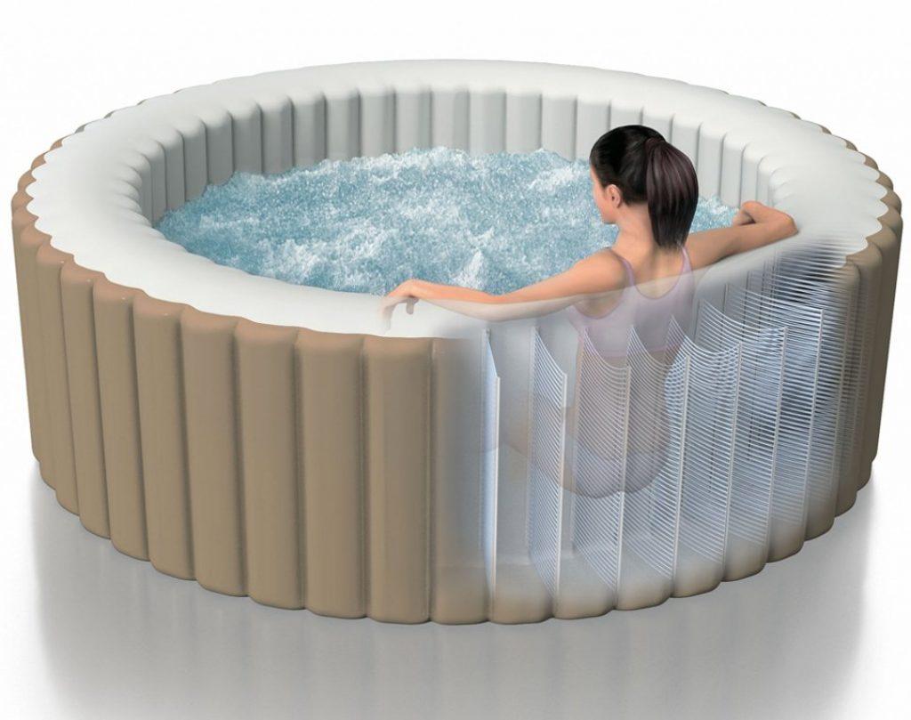 Intex 28404 Pure Spa Bubble Therapy con Pompa, Riscaldatore e Sistema Purificazione Acqua, 196x71 cm