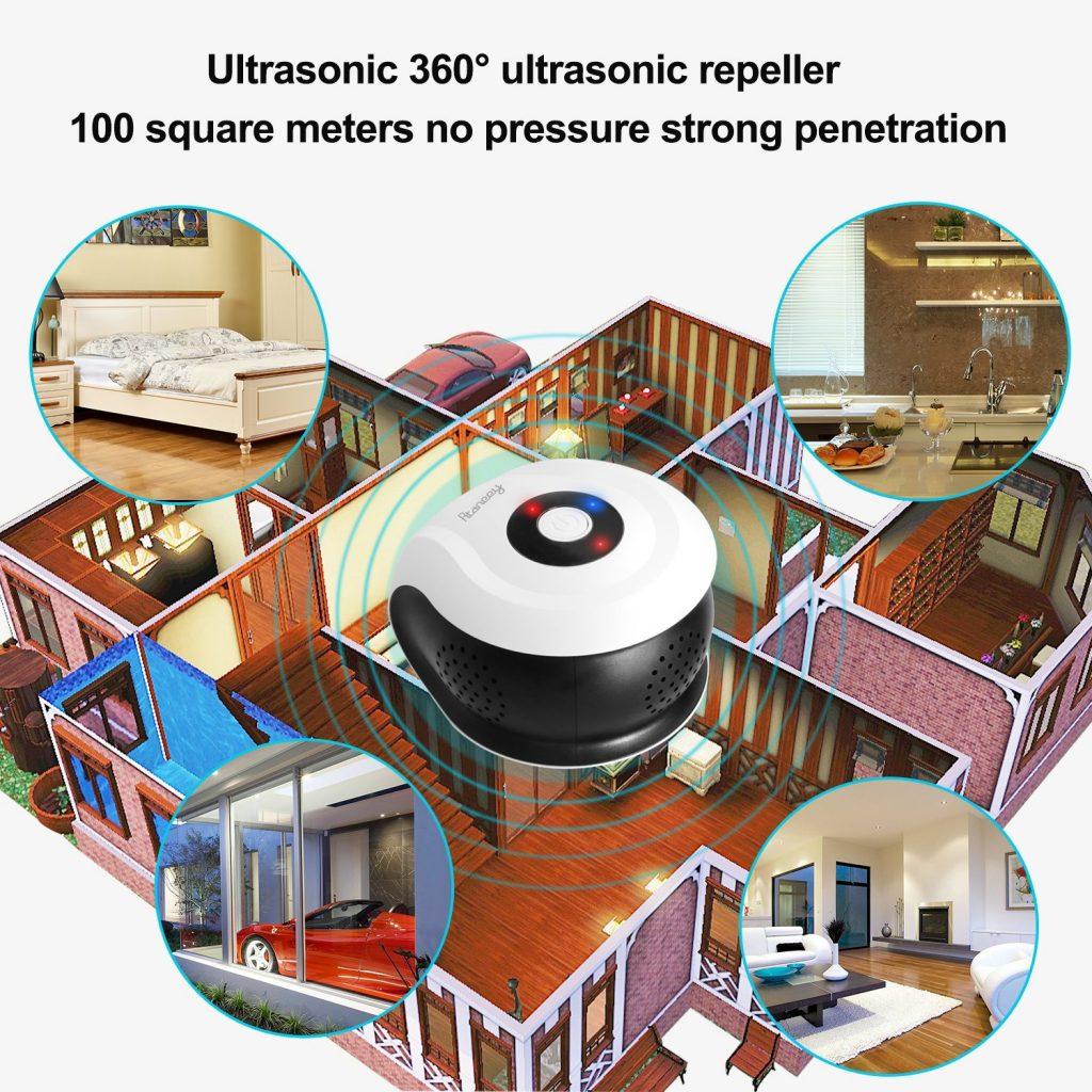 Rtaneey Repellente ad Ultrasuoni Repeller Parassiti Controllo Elettronico Copertura a 360 ° Ultrasoniche Suono Surround Topo Repellente Elettromagnetico Roditori (Bianca)