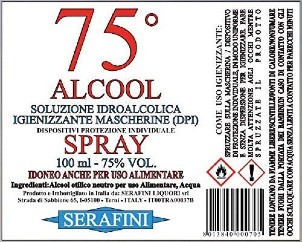 Alcool alimentare 75 gradi IGIENIZZANTE