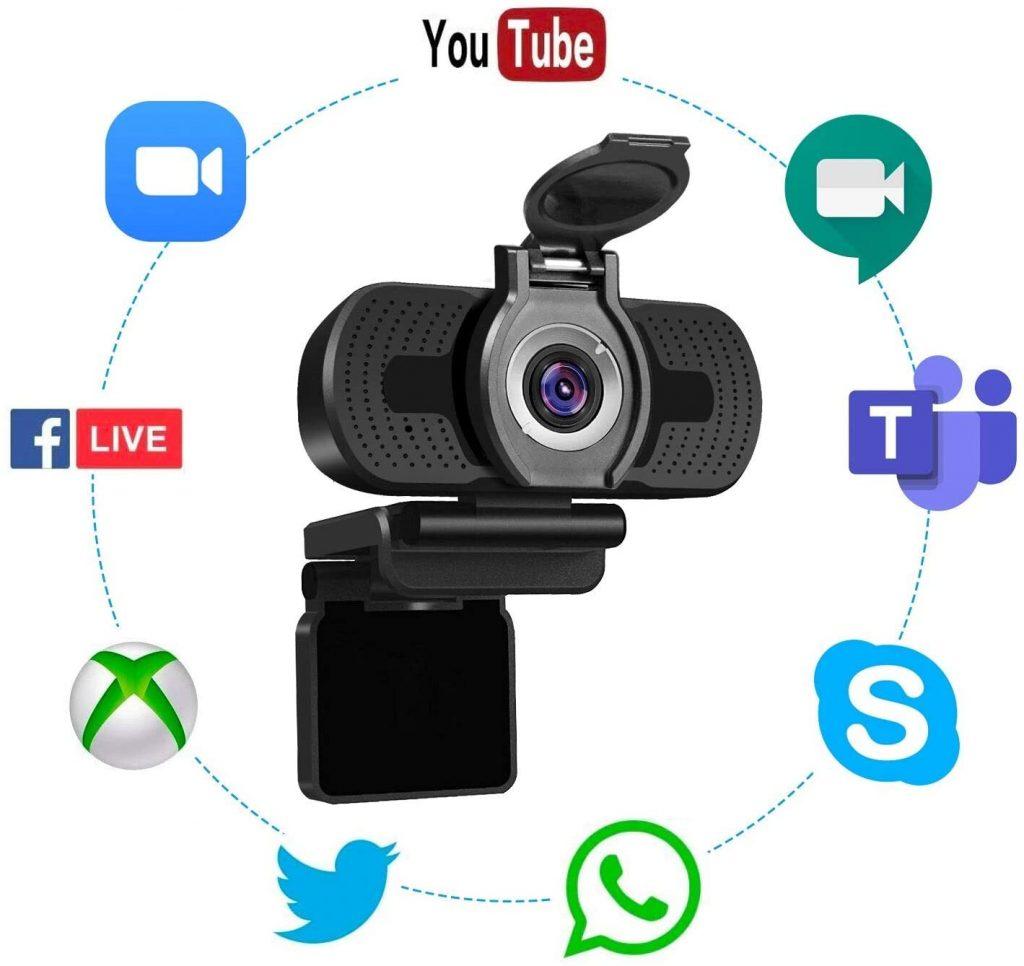 Webcam USB con Microfono Incorporato e Protezione