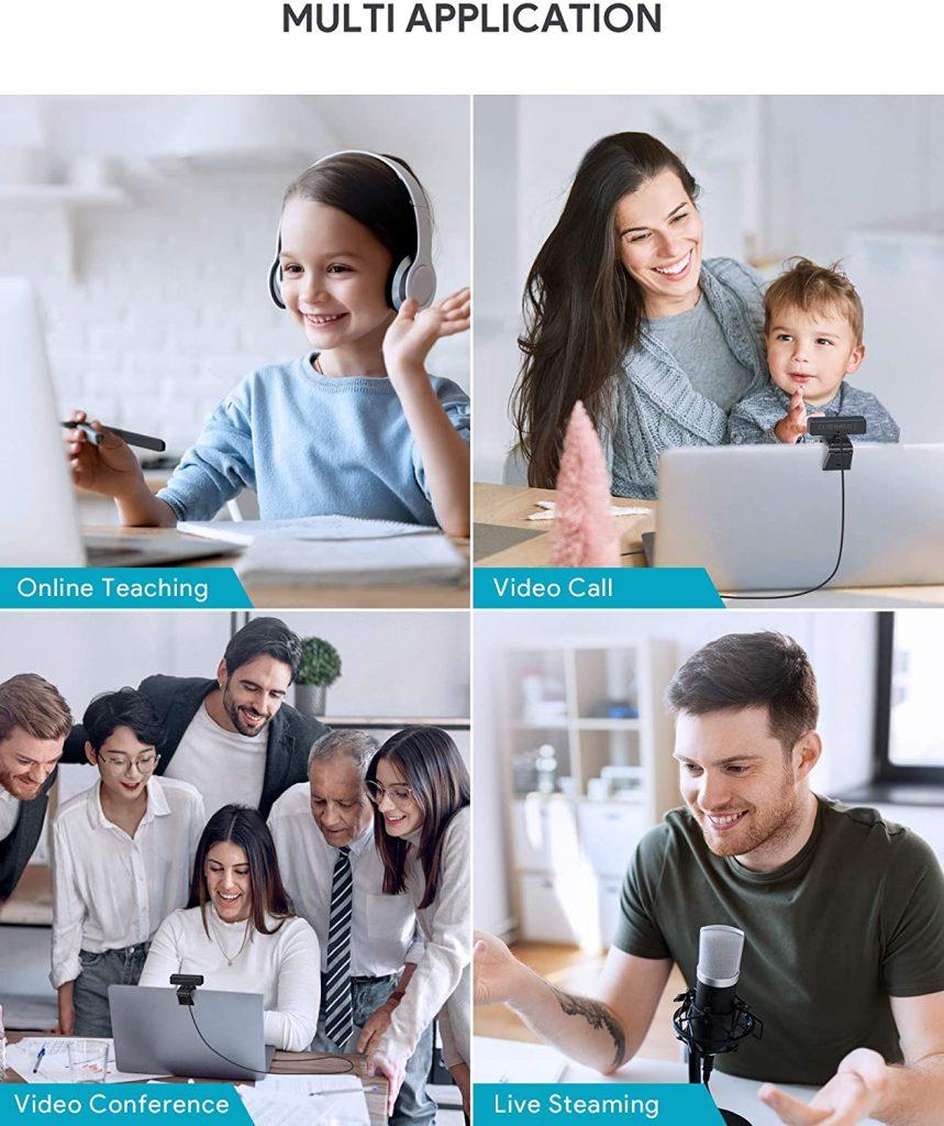Webcam Full HD con Microfono, Autofocus e Otturatore Privacy