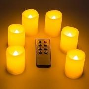 Set di 6 candele a LED con Controllo Remoto