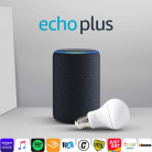 Echo Plus (2ª gen) antracite + Philips Hue White Lampadina
