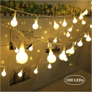 Catena Luminosa Interno/Esterno 10mt 100 Palline LED Bianco